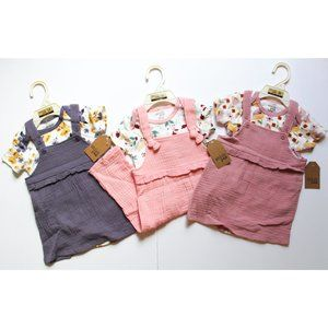 NWT Floral Muslin jumpers 6-9M
